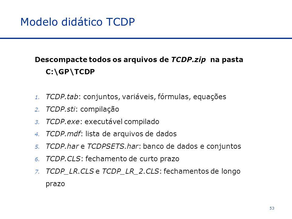 Modelo didático TCDP Descompacte todos os arquivos de TCDP.zip na pasta C:\GP\TCDP. TCDP.tab: conjuntos, variáveis, fórmulas, equações.