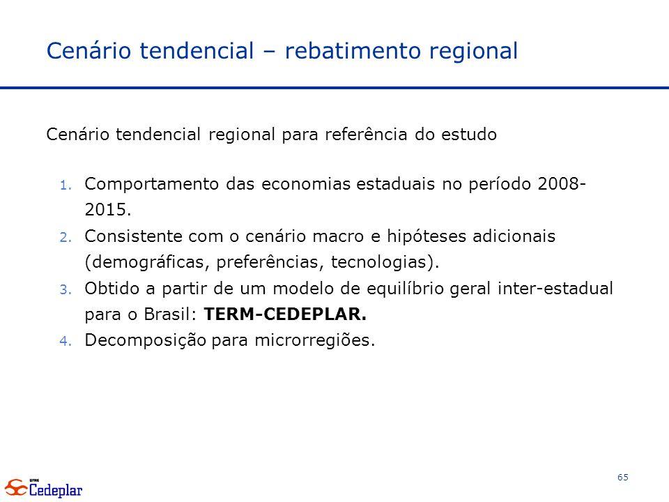 Cenário tendencial – rebatimento regional