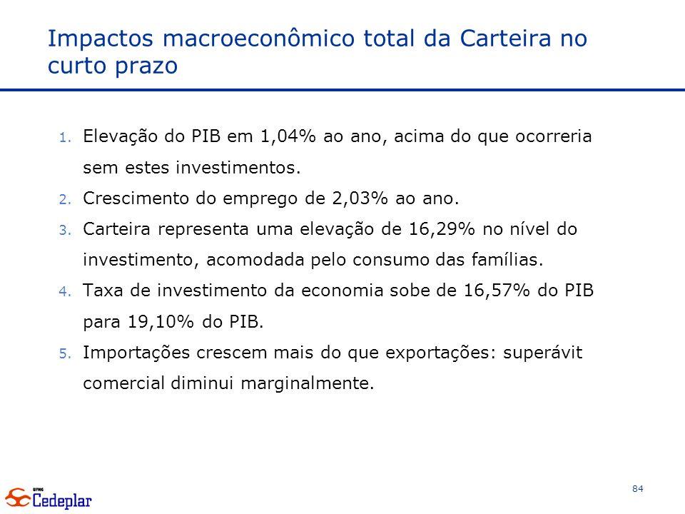 Impactos macroeconômico total da Carteira no curto prazo
