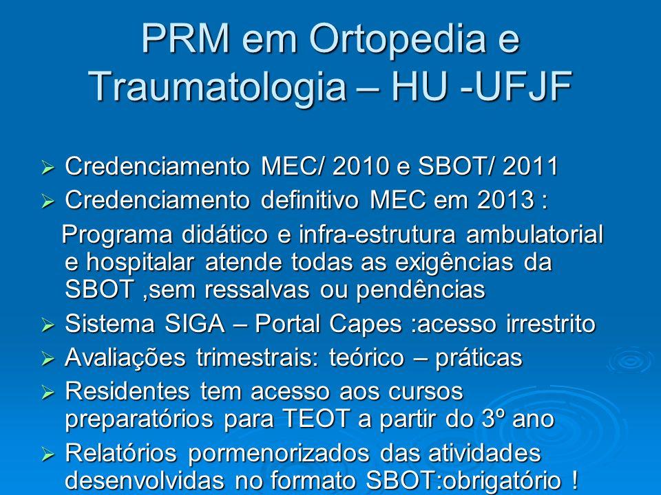 PRM em Ortopedia e Traumatologia – HU -UFJF