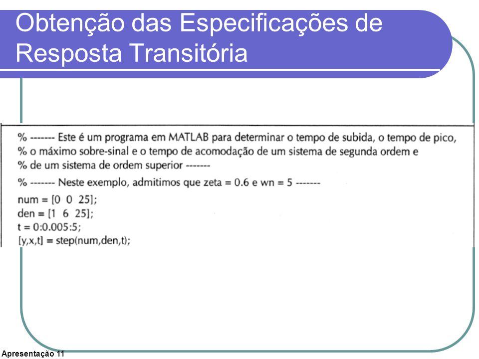 Obtenção das Especificações de Resposta Transitória