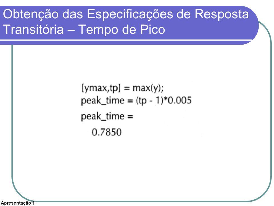 Obtenção das Especificações de Resposta Transitória – Tempo de Pico