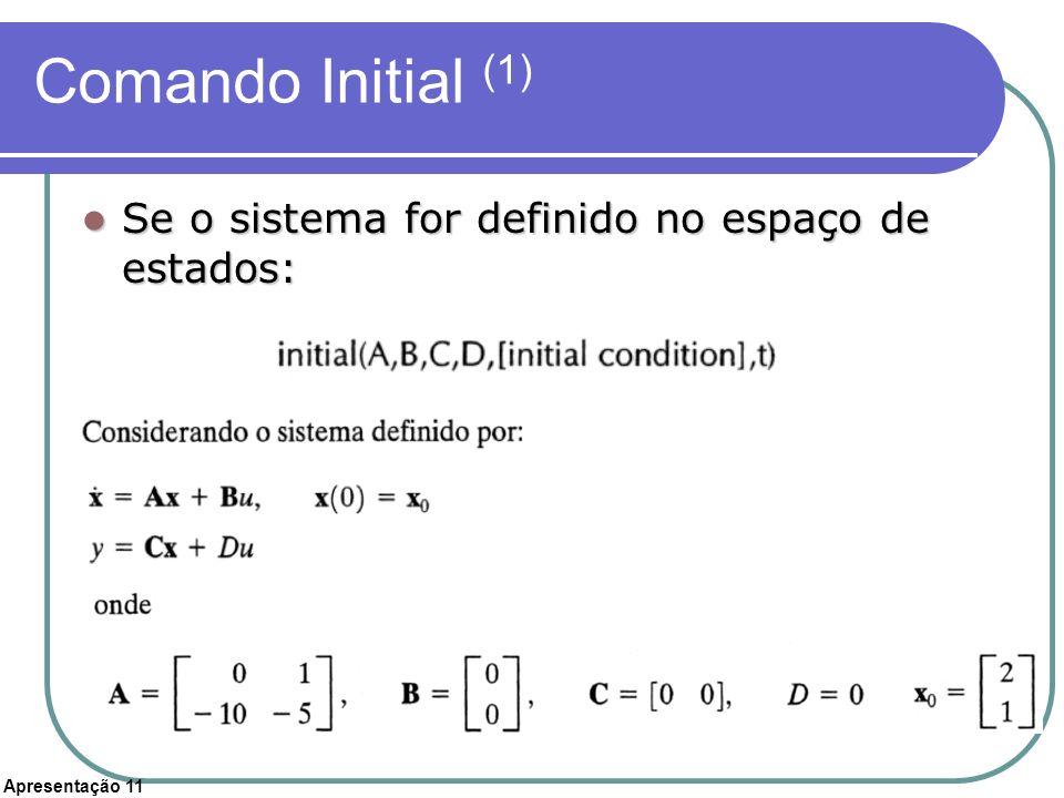 Comando Initial (1) Se o sistema for definido no espaço de estados: