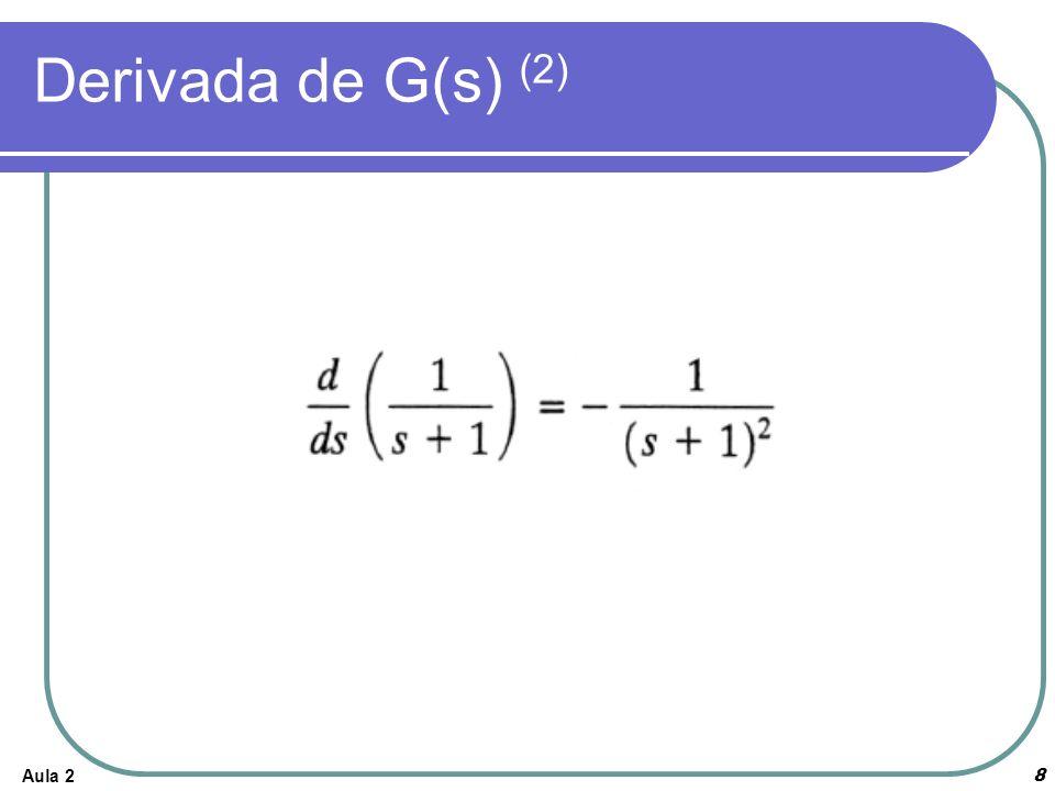Derivada de G(s) (2) Aula 2