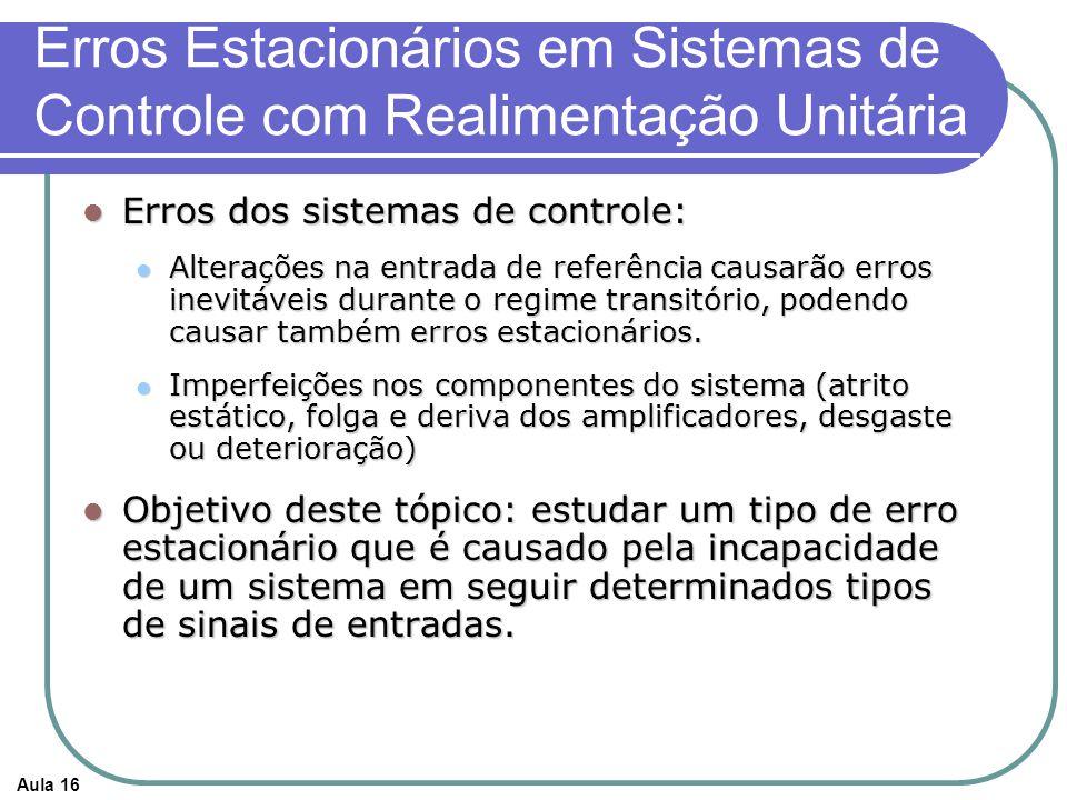 Erros Estacionários em Sistemas de Controle com Realimentação Unitária