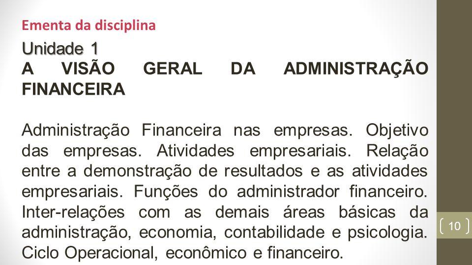 A VISÃO GERAL DA ADMINISTRAÇÃO FINANCEIRA