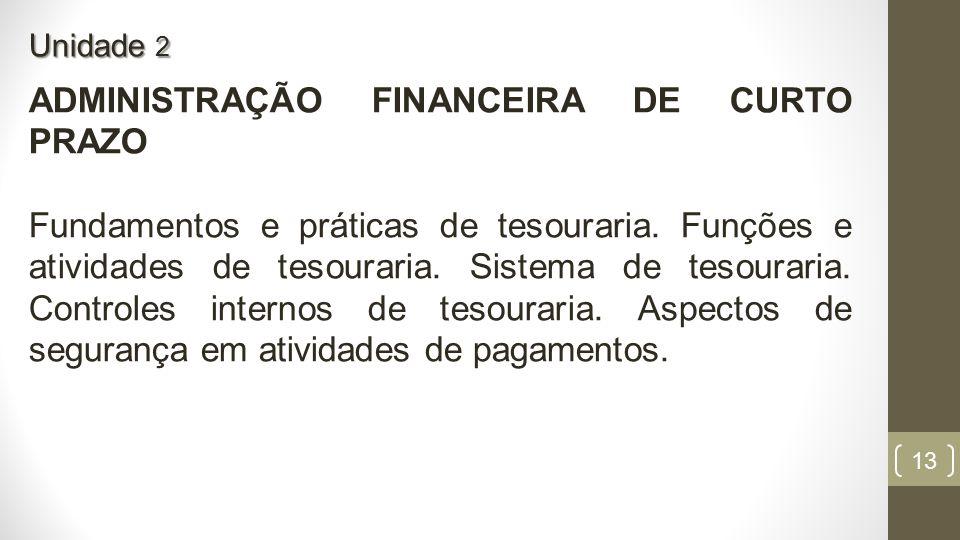 ADMINISTRAÇÃO FINANCEIRA DE CURTO PRAZO
