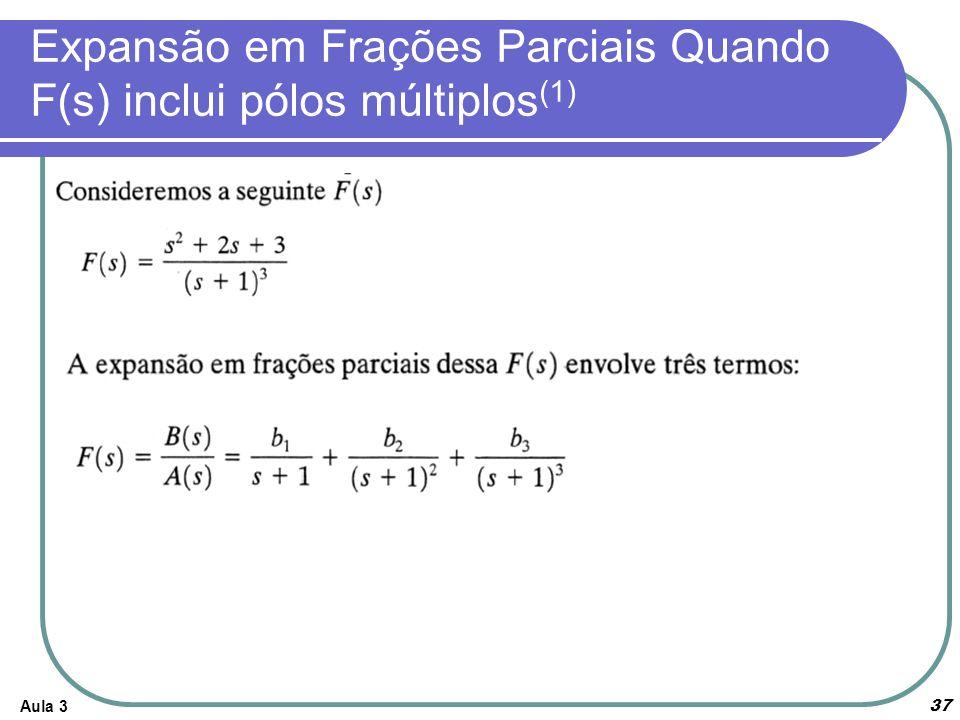 Expansão em Frações Parciais Quando F(s) inclui pólos múltiplos(1)