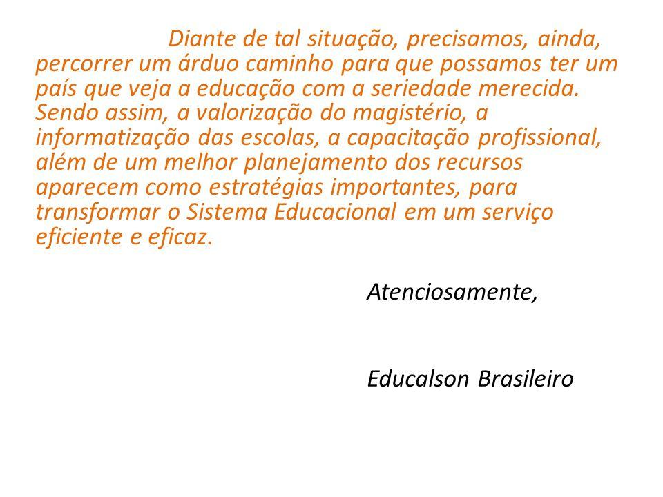Atenciosamente, Educalson Brasileiro