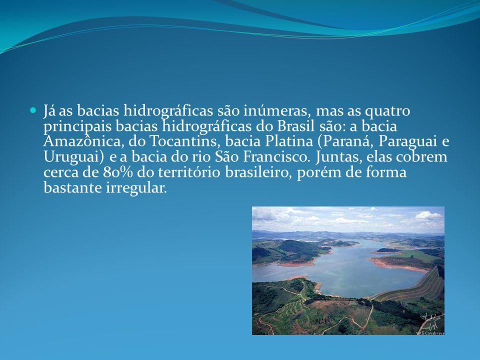 Já as bacias hidrográficas são inúmeras, mas as quatro principais bacias hidrográficas do Brasil são: a bacia Amazônica, do Tocantins, bacia Platina (Paraná, Paraguai e Uruguai) e a bacia do rio São Francisco.
