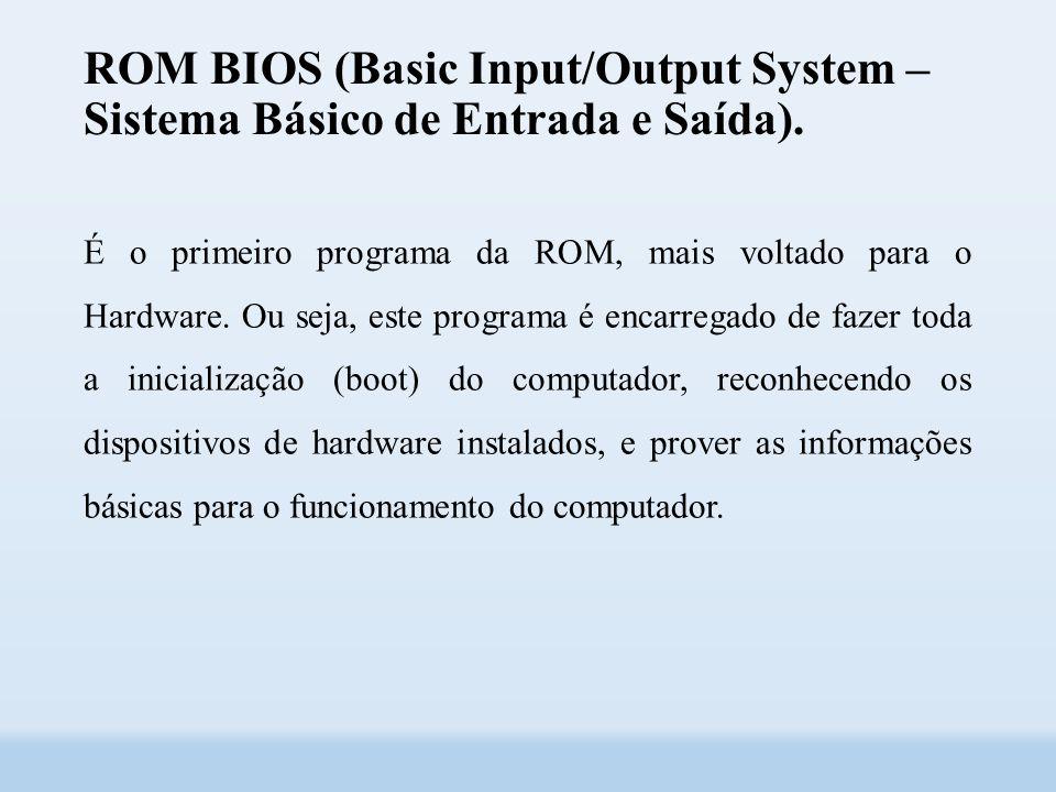 ROM BIOS (Basic Input/Output System – Sistema Básico de Entrada e Saída).