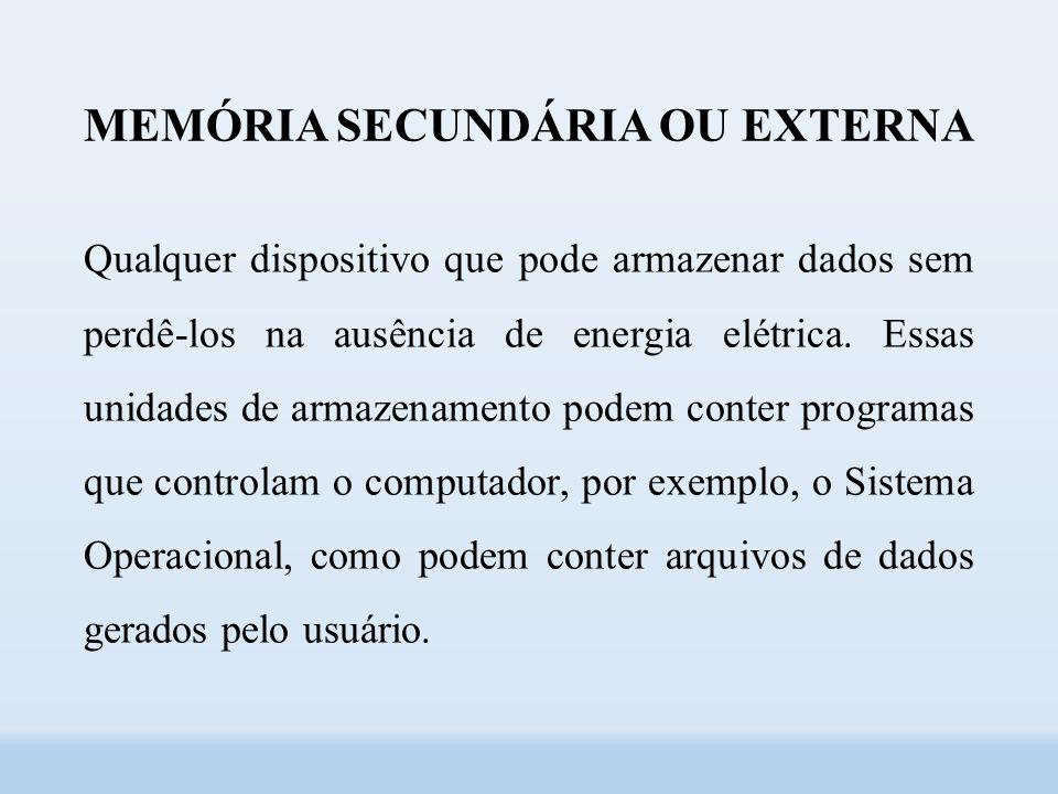 MEMÓRIA SECUNDÁRIA OU EXTERNA