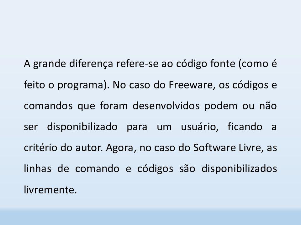 A grande diferença refere-se ao código fonte (como é feito o programa)
