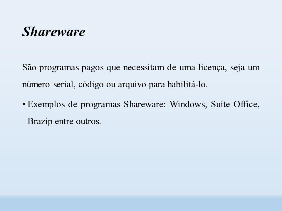 Shareware São programas pagos que necessitam de uma licença, seja um número serial, código ou arquivo para habilitá-lo.