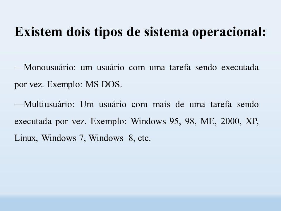 Existem dois tipos de sistema operacional:
