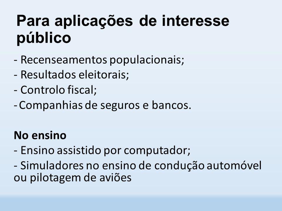 Para aplicações de interesse público