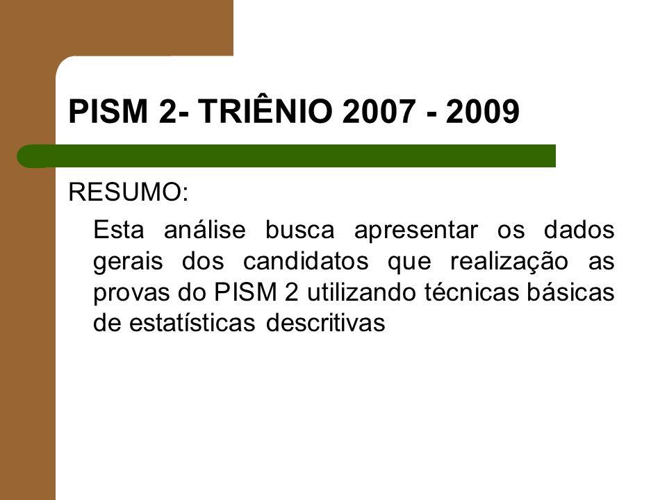 PISM 2- TRIÊNIO 2007 - 2009 RESUMO: