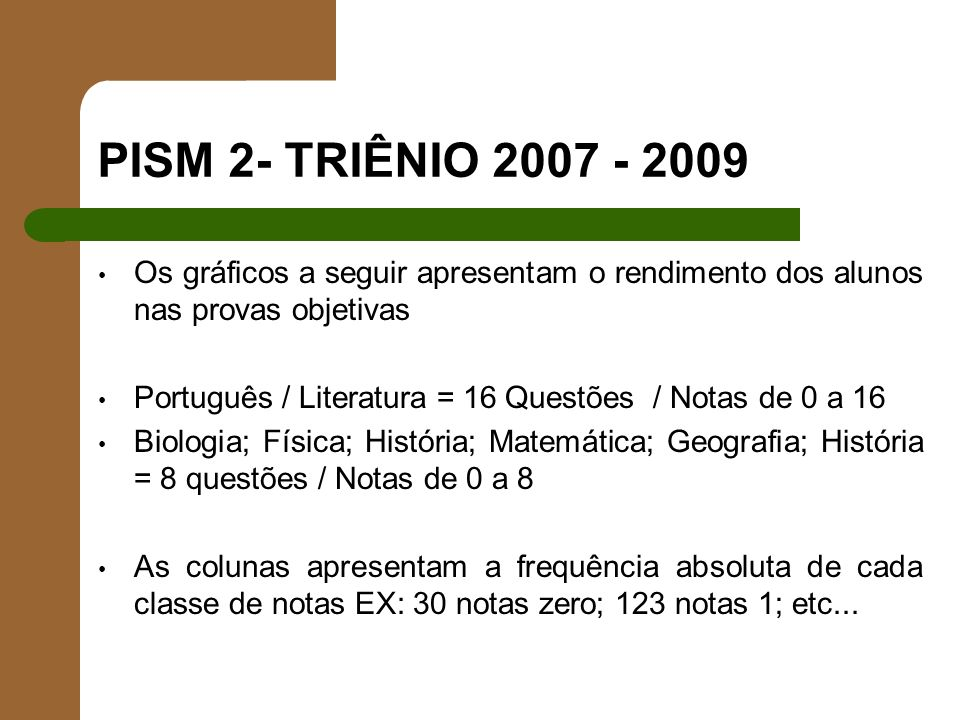 PISM 2- TRIÊNIO 2007 - 2009 Os gráficos a seguir apresentam o rendimento dos alunos nas provas objetivas.