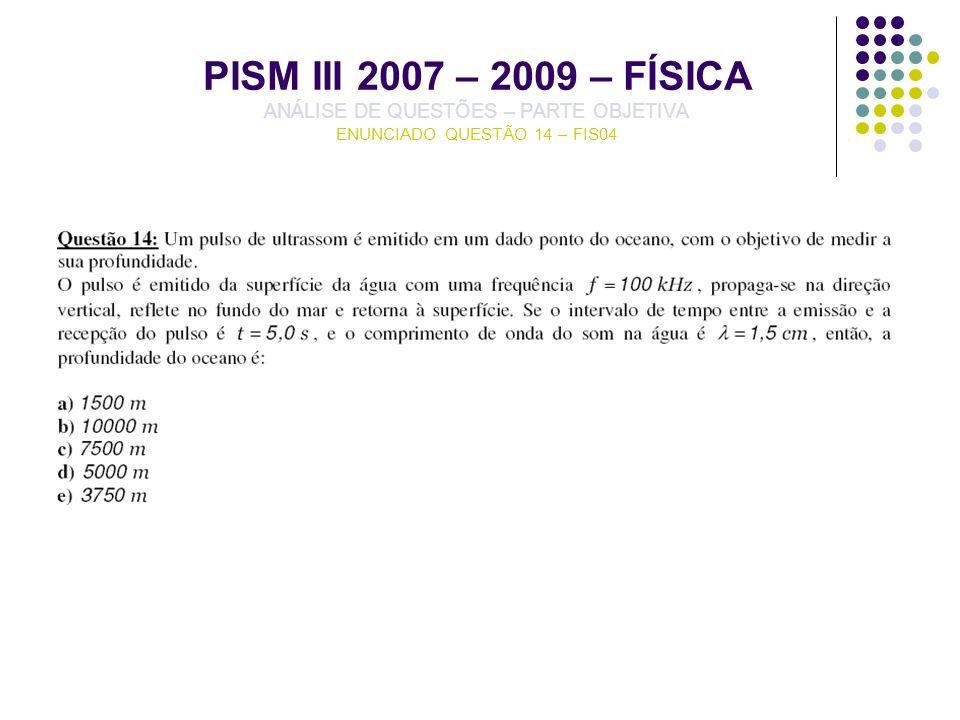 PISM III 2007 – 2009 – FÍSICA ANÁLISE DE QUESTÕES – PARTE OBJETIVA ENUNCIADO QUESTÃO 14 – FIS04