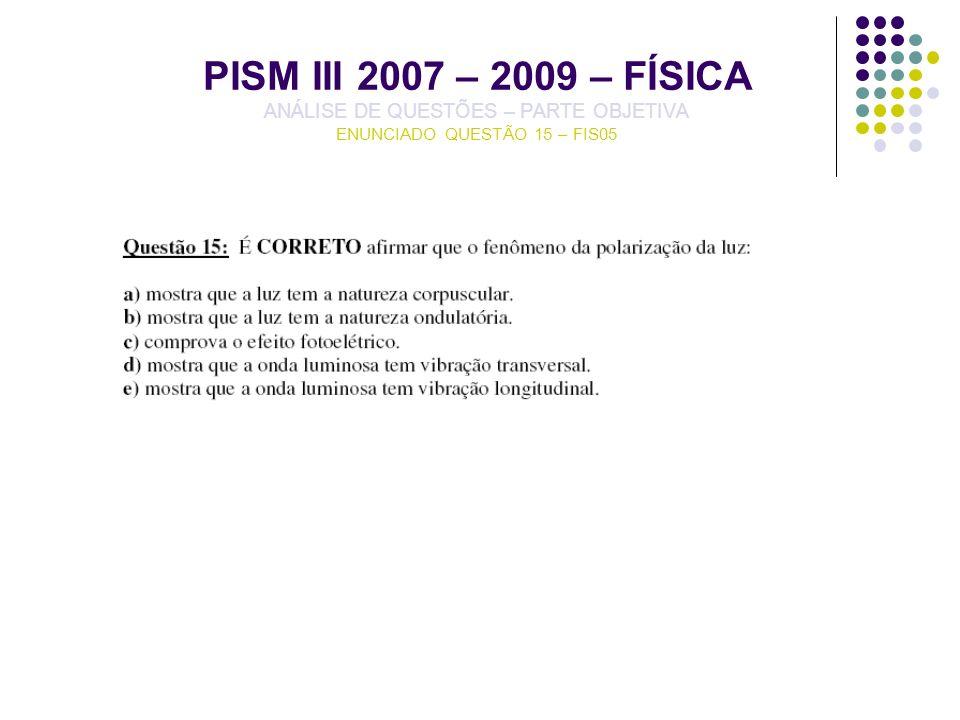 PISM III 2007 – 2009 – FÍSICA ANÁLISE DE QUESTÕES – PARTE OBJETIVA ENUNCIADO QUESTÃO 15 – FIS05