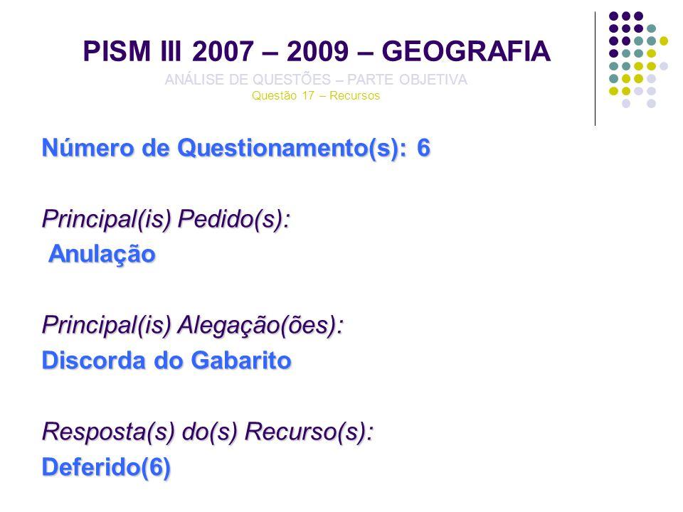 PISM III 2007 – 2009 – GEOGRAFIA ANÁLISE DE QUESTÕES – PARTE OBJETIVA Questão 17 – Recursos