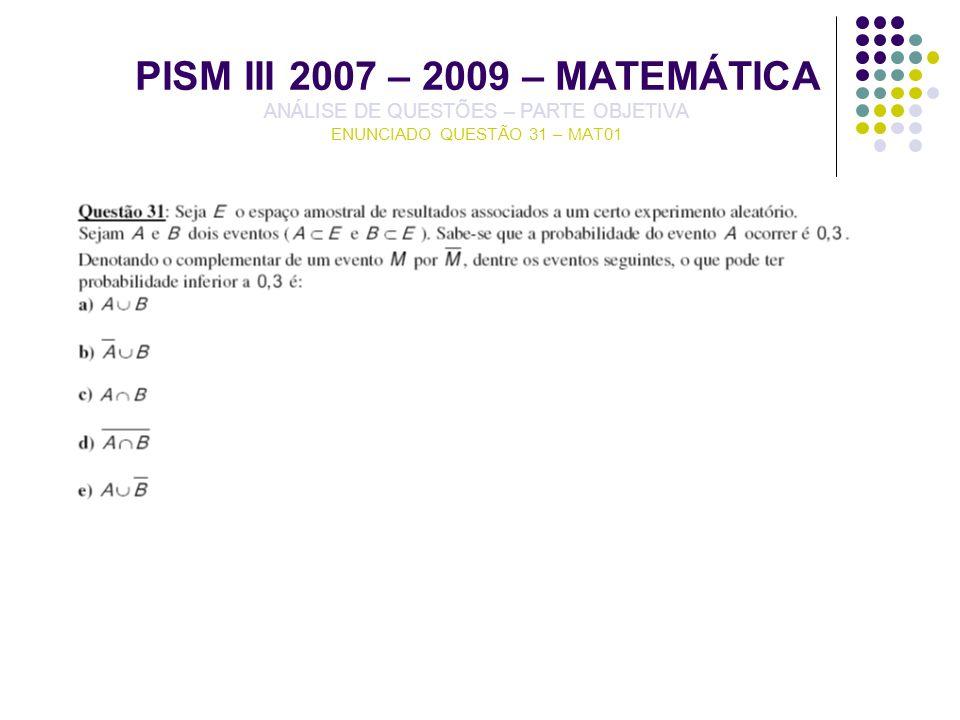 PISM III 2007 – 2009 – MATEMÁTICA ANÁLISE DE QUESTÕES – PARTE OBJETIVA ENUNCIADO QUESTÃO 31 – MAT01