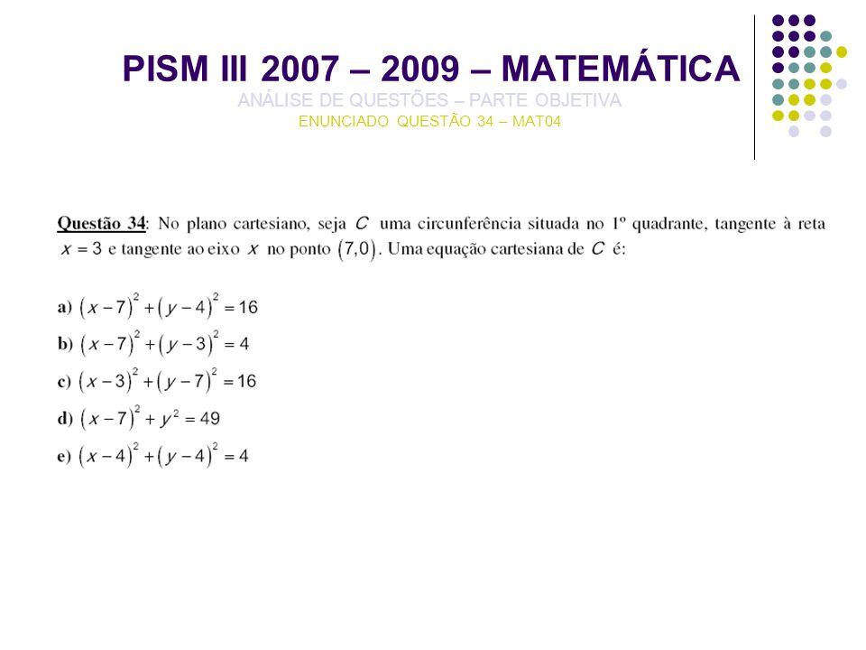 PISM III 2007 – 2009 – MATEMÁTICA ANÁLISE DE QUESTÕES – PARTE OBJETIVA ENUNCIADO QUESTÃO 34 – MAT04