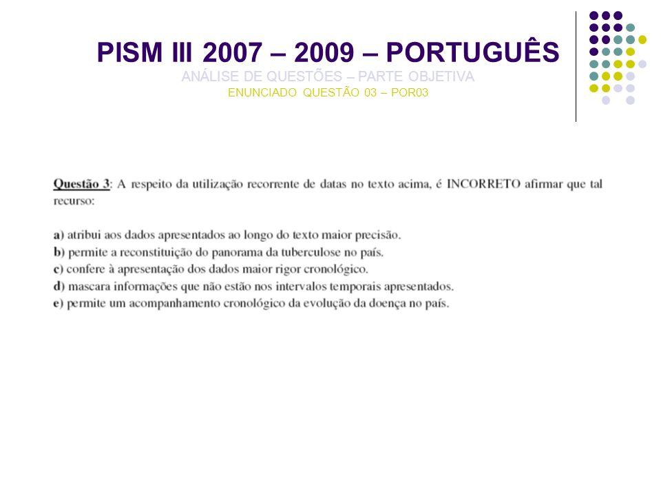 PISM III 2007 – 2009 – PORTUGUÊS ANÁLISE DE QUESTÕES – PARTE OBJETIVA ENUNCIADO QUESTÃO 03 – POR03