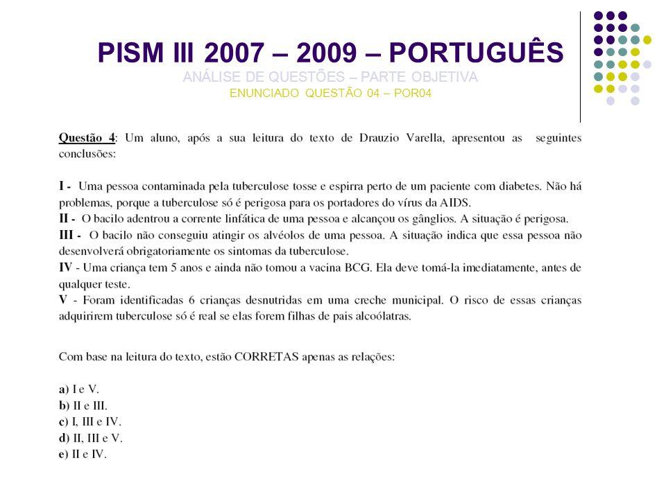 PISM III 2007 – 2009 – PORTUGUÊS ANÁLISE DE QUESTÕES – PARTE OBJETIVA ENUNCIADO QUESTÃO 04 – POR04