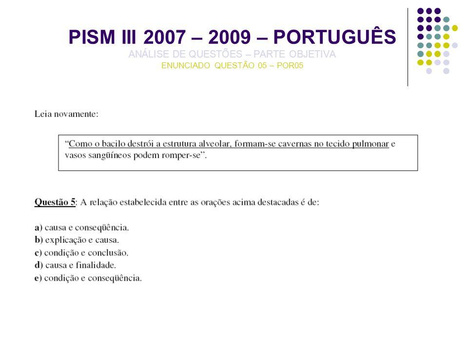 PISM III 2007 – 2009 – PORTUGUÊS ANÁLISE DE QUESTÕES – PARTE OBJETIVA ENUNCIADO QUESTÃO 05 – POR05