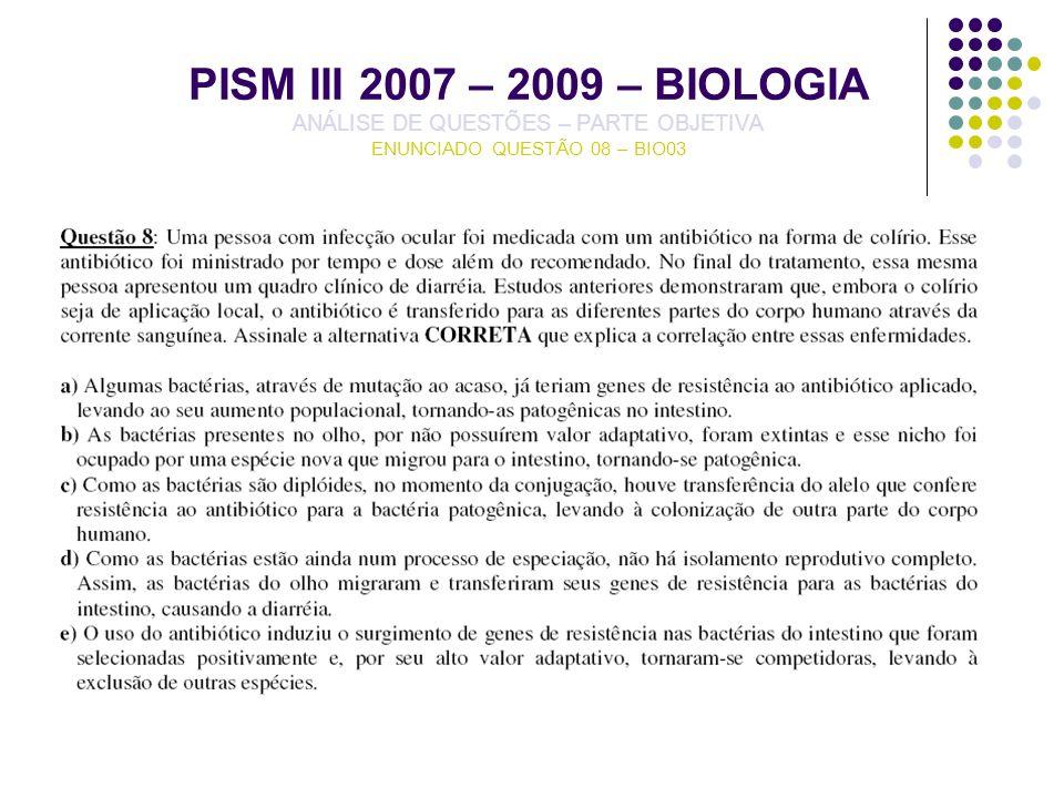 PISM III 2007 – 2009 – BIOLOGIA ANÁLISE DE QUESTÕES – PARTE OBJETIVA ENUNCIADO QUESTÃO 08 – BIO03