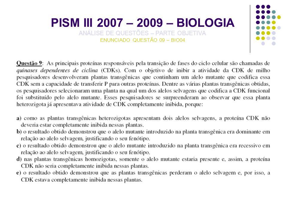PISM III 2007 – 2009 – BIOLOGIA ANÁLISE DE QUESTÕES – PARTE OBJETIVA ENUNCIADO QUESTÃO 09 – BIO04