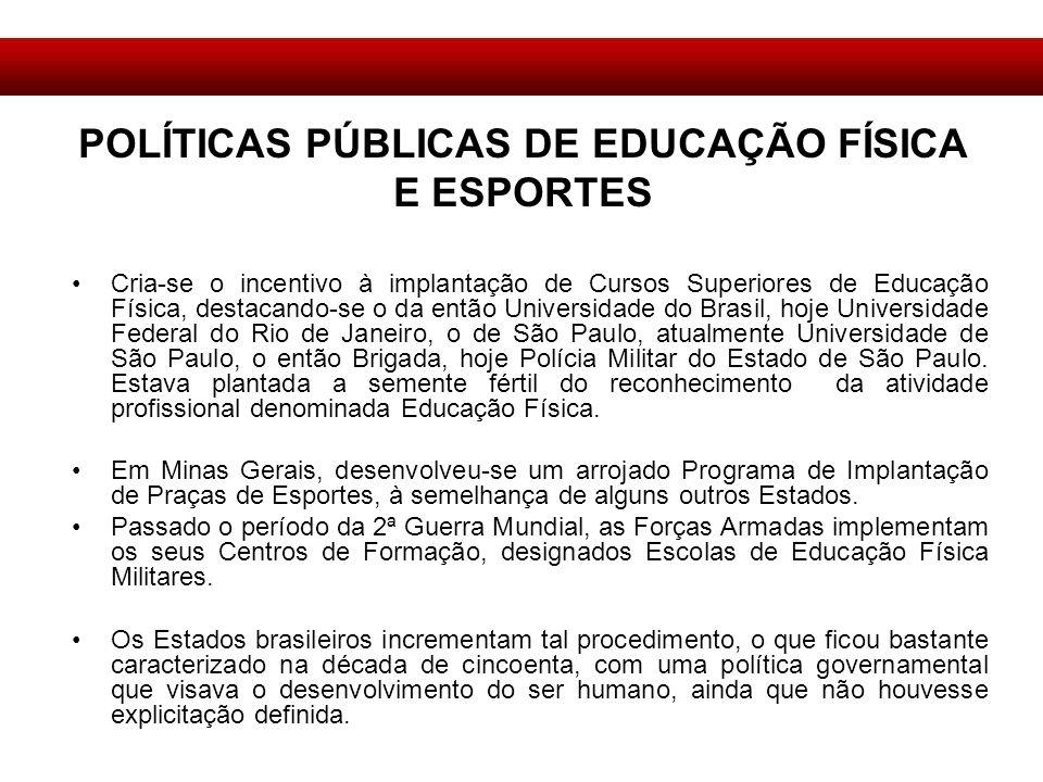 POLÍTICAS PÚBLICAS DE EDUCAÇÃO FÍSICA E ESPORTES
