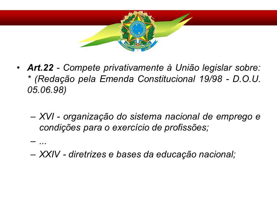 Art. 22 - Compete privativamente à União legislar sobre: