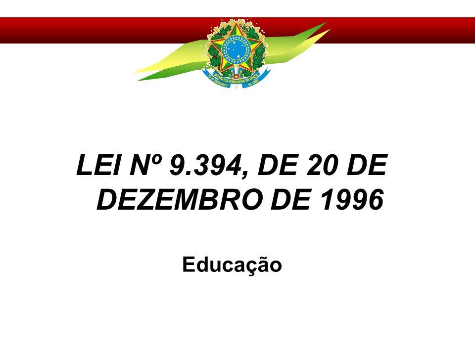 LEI Nº 9.394, DE 20 DE DEZEMBRO DE 1996 Educação