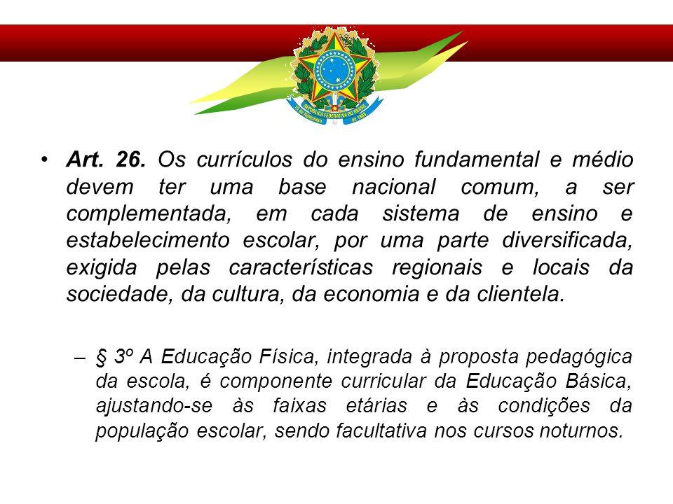 Art. 26. Os currículos do ensino fundamental e médio devem ter uma base nacional comum, a ser complementada, em cada sistema de ensino e estabelecimento escolar, por uma parte diversificada, exigida pelas características regionais e locais da sociedade, da cultura, da economia e da clientela.