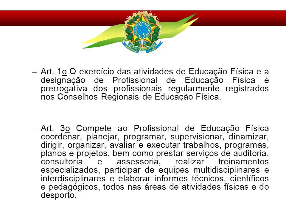 Art. 1o O exercício das atividades de Educação Física e a designação de Profissional de Educação Física é prerrogativa dos profissionais regularmente registrados nos Conselhos Regionais de Educação Física.