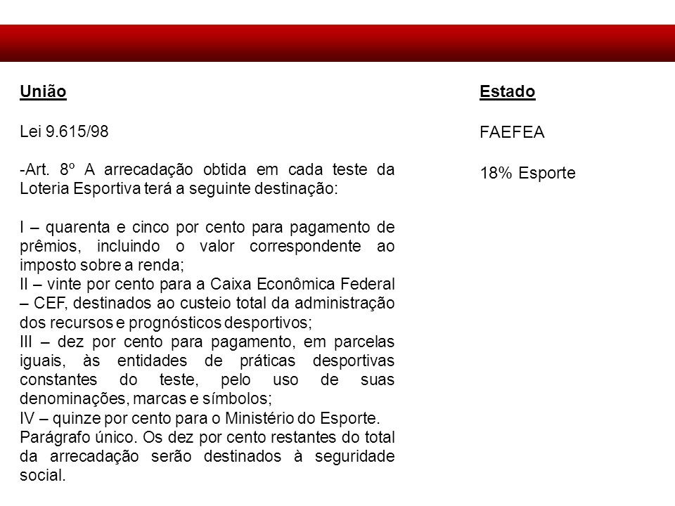 União Estado FAEFEA 18% Esporte Lei 9.615/98