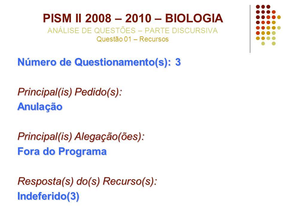 PISM II 2008 – 2010 – BIOLOGIA ANÁLISE DE QUESTÕES – PARTE DISCURSIVA Questão 01 – Recursos