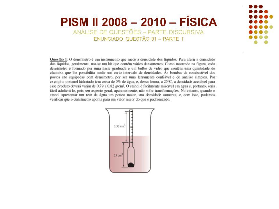 PISM II 2008 – 2010 – FÍSICA ANÁLISE DE QUESTÕES – PARTE DISCURSIVA ENUNCIADO QUESTÃO 01 – PARTE 1
