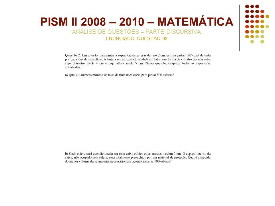 PISM II 2008 – 2010 – MATEMÁTICA ANÁLISE DE QUESTÕES – PARTE DISCURSIVA ENUNCIADO QUESTÃO 02