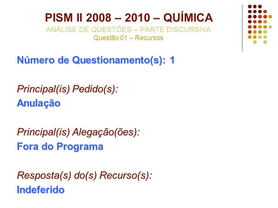 PISM II 2008 – 2010 – QUÍMICA ANÁLISE DE QUESTÕES – PARTE DISCURSIVA Questão 01 – Recursos