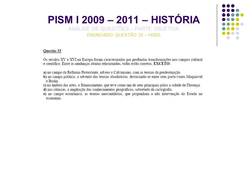 PISM I 2009 – 2011 – HISTÓRIA ANÁLISE DE QUESTÕES – PARTE OBJETIVA ENUNCIADO QUESTÃO 33 – HIS03