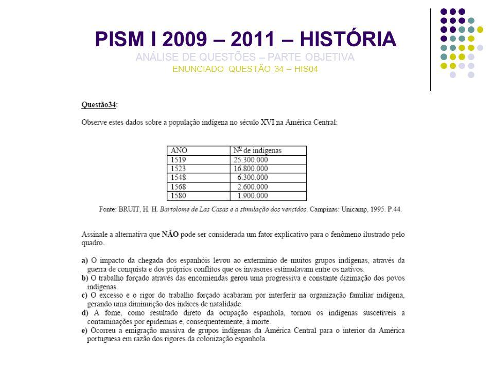 PISM I 2009 – 2011 – HISTÓRIA ANÁLISE DE QUESTÕES – PARTE OBJETIVA ENUNCIADO QUESTÃO 34 – HIS04