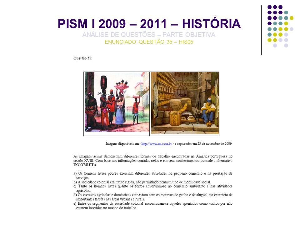 PISM I 2009 – 2011 – HISTÓRIA ANÁLISE DE QUESTÕES – PARTE OBJETIVA ENUNCIADO QUESTÃO 35 – HIS05