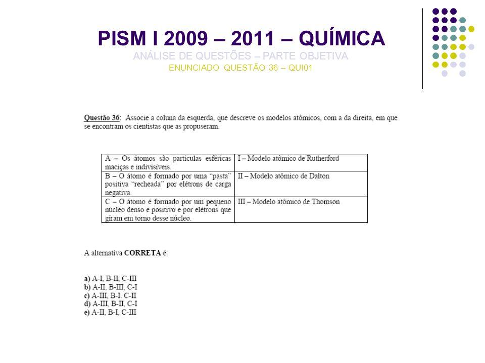 PISM I 2009 – 2011 – QUÍMICA ANÁLISE DE QUESTÕES – PARTE OBJETIVA ENUNCIADO QUESTÃO 36 – QUI01