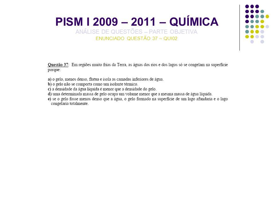 PISM I 2009 – 2011 – QUÍMICA ANÁLISE DE QUESTÕES – PARTE OBJETIVA ENUNCIADO QUESTÃO 37 – QUI02