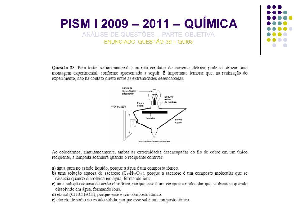 PISM I 2009 – 2011 – QUÍMICA ANÁLISE DE QUESTÕES – PARTE OBJETIVA ENUNCIADO QUESTÃO 38 – QUI03