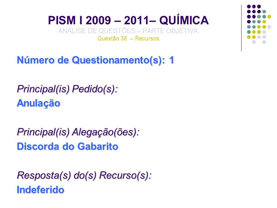 PISM I 2009 – 2011– QUÍMICA ANÁLISE DE QUESTÕES – PARTE OBJETIVA Questão 38 – Recursos