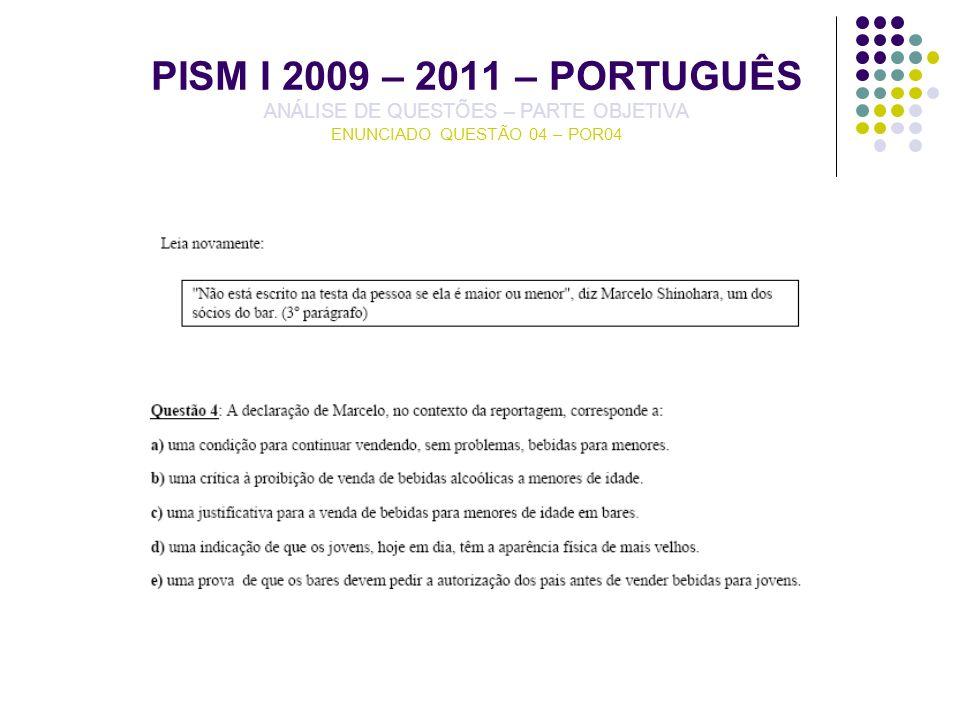 PISM I 2009 – 2011 – PORTUGUÊS ANÁLISE DE QUESTÕES – PARTE OBJETIVA ENUNCIADO QUESTÃO 04 – POR04